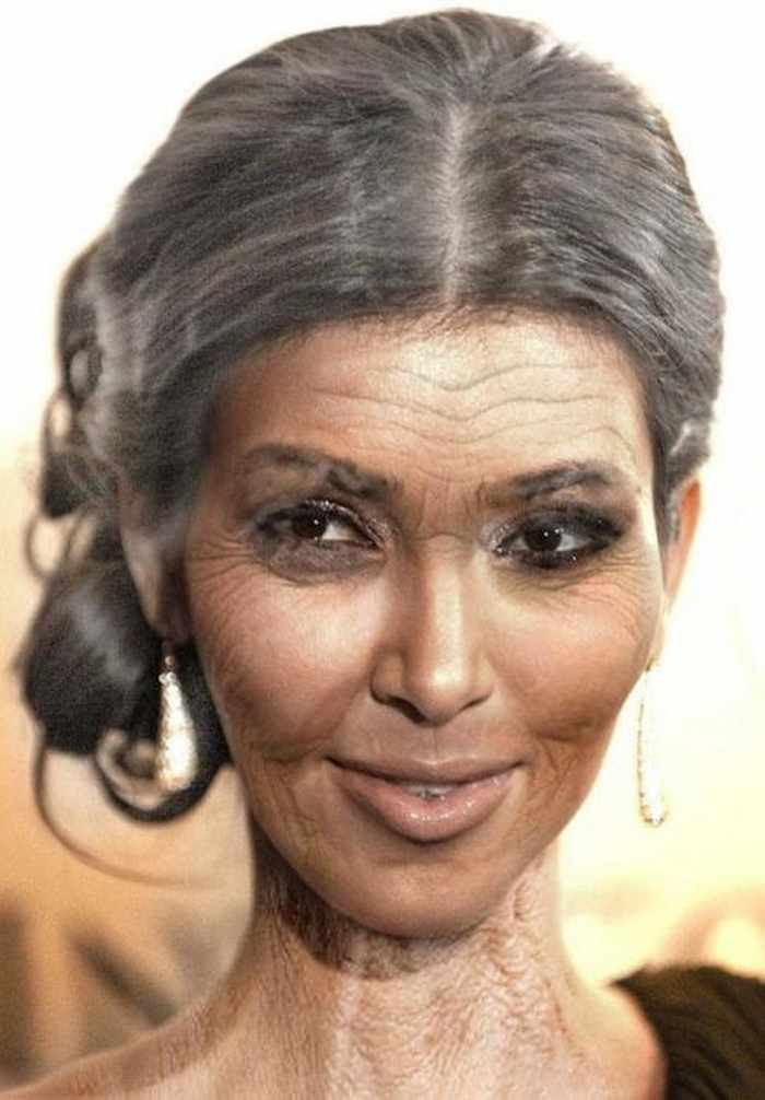 Kim-Kardashian - How Celebrities Will Look Like When They Are Old -25 Photos