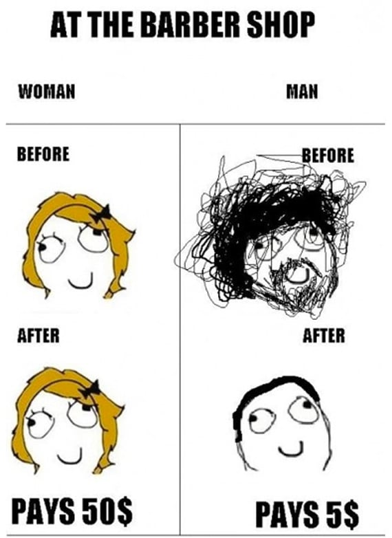 Meanwhile Man And Woman At The Barber Shop
