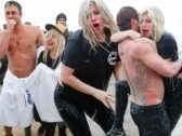 Lady Gaga Takes Polar Plunge Into Lake Michigan For Charity